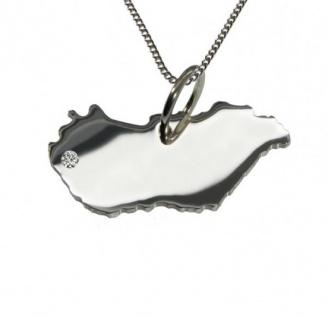 UNGARN Anhänger aus 925 Silber mit Brillant am Wunschort mit Halskette