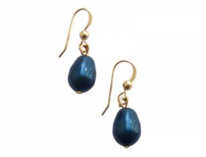 Gemshine Damen Ohrringe Vergoldet MK-Perlen Tahiti Blau Tropfen 1, 5 cm