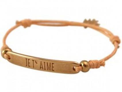 Gemshine Damen Armband Gravur JE T` AIME Rose Vergoldet Koralle