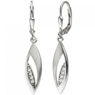 Ohrhänger 925 Silber teil matt 8 Zirkonia Ohrringe Boutons