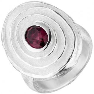 Damen Ring 925 Sterling Silber teil matt 1 Rhodolith