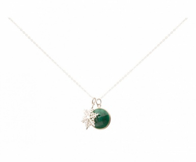 Halskette Anhänger Schneeflocke 925 Silber Smaragd Grün 45 cm