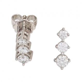 Ohrstecker 585 Weißgold 6 Diamanten Brillanten 0, 50ct. Ohrringe