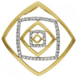 Anhänger 585 Gelbgold Weißgold teil matt 56 Diamanten Brillanten