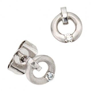 Ohrstecker 950 Platin mattiert mit 2 Diamanten Brillanten 0, 03 ct.