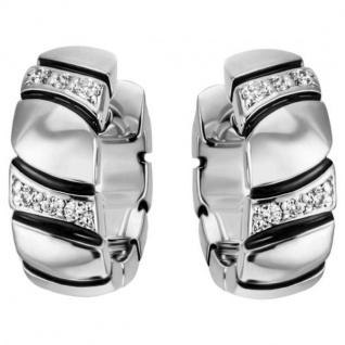 Creolen 925 Sterling Silber 12 Zirkonia Ohrringe Silbercreolen Silberohrringe
