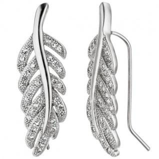 Ohrhänger Feder 925 Sterling Silber mit Zirkonia Ohrringe