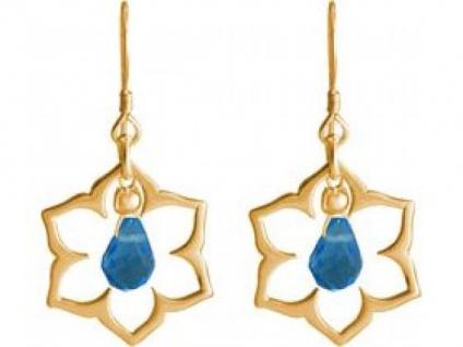 Ohrhänger 925 Silber vergoldet Lotus Blume Mandala Topas Quarz Tropfen