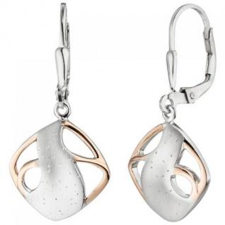 Ohrhänger 925 Sterling Silber bicolor vergoldet teil matt Ohrringe