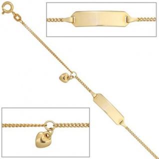 Schildband Herz 585 Gold Gelbgold 14 cm Gravur ID Armband Federring