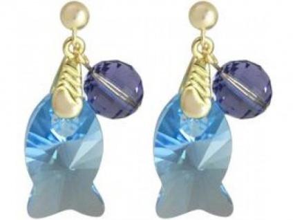 Ohrringe vergoldet Fisch Violett MADE WITH SWAROVSKI ELEMENTS®