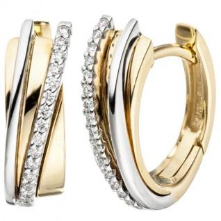 Creolen 585 Gold Gelbgold Weißgold bicolor 32 Diamanten Brillanten - Vorschau