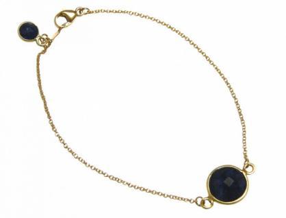 Damen Armband Vergoldet Saphir blau facettiert 19 cm