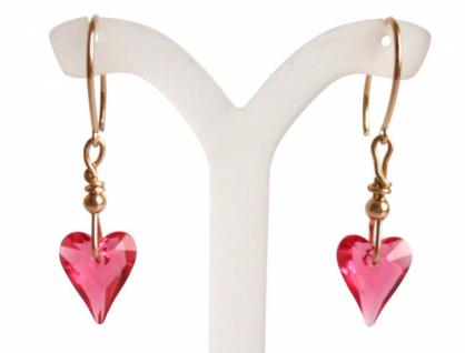 Herz Ohrringe Vergoldet Rosa MADE WITH SWAROVSKI ELEMENTS® 2 cm