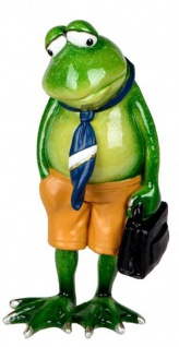 Dekofigur lustiger Deko Frosch mit Krawatte und Aktentasche 17 cm - Vorschau