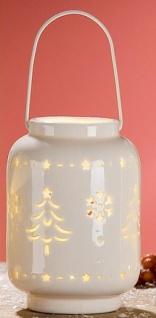GILDE Windlicht Eiskristall und Tannenbaum aus Porzellan mit LED
