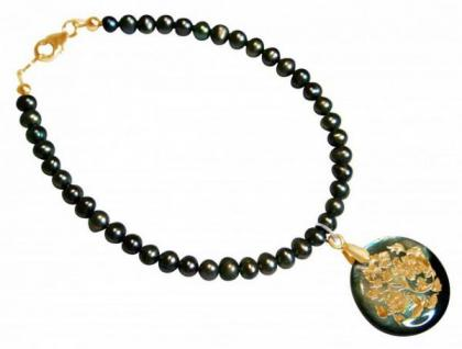 Tahiti-Perlen-Armband mit Perlmutt-Medaillon Vergoldet Grau