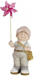 Deko-Figur-Kind Junge mit rosa Windrad stehend Gartenzwerg Wichtel Gartendeko Gartenfigur Frühjahrsdeko Sommerkind grau rosa 10x14x31 cm