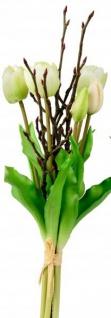 Künstliche Tulpen als Bund 5 Stück mit Zweigen weiß 42 cm Osterblume