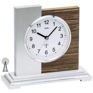 AMS 5149 Tischuhr Funk silbern modern Holz nussbaum farben mit Alu