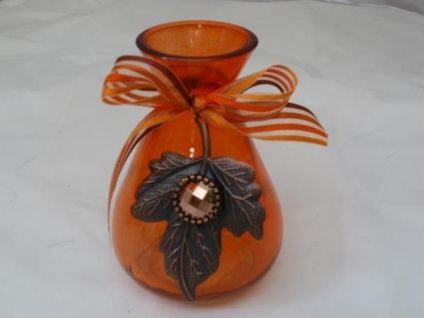 Vase in Orange aus Glas, 10, 5 cm