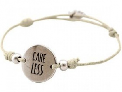 Gemshine Damen Armband Gravur CARE LESS Silber Nude