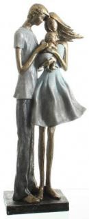 Dekofigur Familie stehend, Polyresin, blau, grau, silber, gold, 39 cm