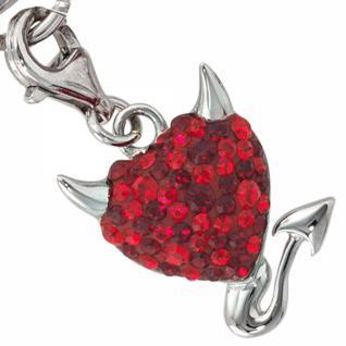 Einhänger Teufelsherz 925 Sterling Silber mit Swarovski-Elements rot