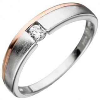 Damen Ring 925 Silber bicolor mattiert mit Zirkonia