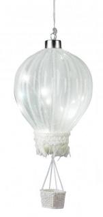 LED Heißluftballon mit Timerfunktion Batteriebetrieben 10 Ø Sommerdeko Partydeko Partylicht zum Hängen Lampions Dekolicht Ballon weiß 27cm