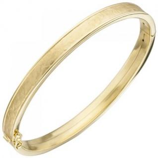 Armreif Armband oval 375 Gold Gelbgold teil matt Goldarmband