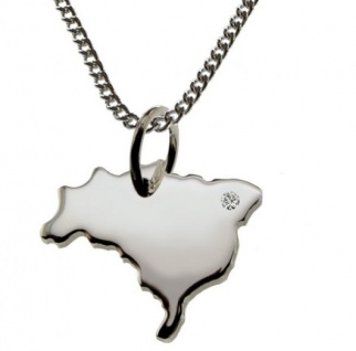 BRASILIEN Anhänger 925 Silber mit Brillant am Wunschort mit Halskette