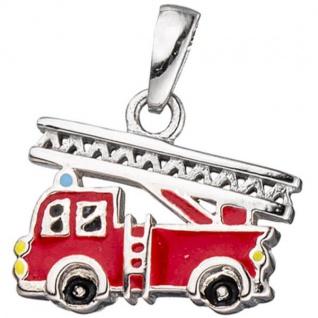 Kinder Anhänger Feuerwehrauto rot 925 Silber Feuerwehr Kinderanhänger