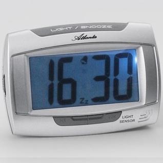 Atlanta 1669/19 Wecker Quarz digital silbern mit Licht Snooze