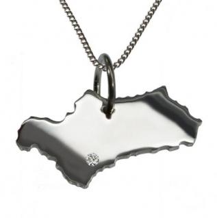 ANDALUSIEN Anhänger Silber mit Brillant am Wunschort mit Halskette