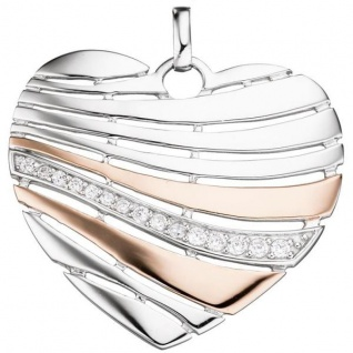 Anhänger Herz 925 Silber rotgold vergoldet mit Zirkonia Herz-Anhänger