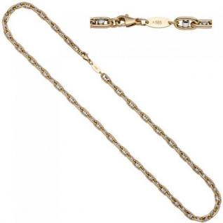 Halskette 585 Gelbgold Weißgold bicolor 50 cm Goldkette Karabiner