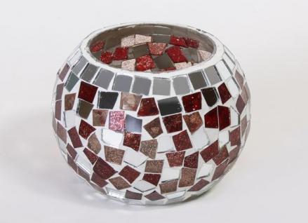Windlicht Spiegelmosaik-Glas in Rot, 11 cm Durchmesser