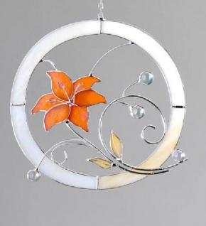 formano Fensterbild aus Tiffanyglas Blume in Orange, 21 cm