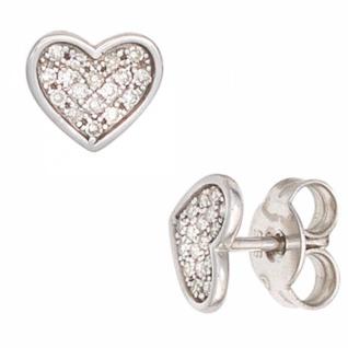 Ohrstecker Herz 585 Weißgold 34 Diamanten 0, 14 ct.