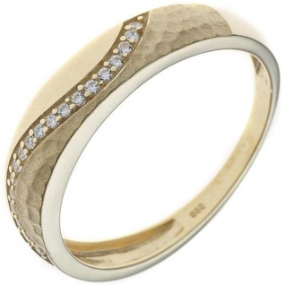 Damen Ring 333 Gelbgold mattiert mit Zirkonia Goldring