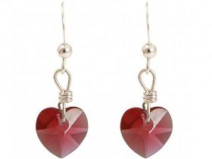 Ohrringe 925 Silber Herz Rot MADE WITH SWAROVSKI ELEMENTS® 2, 5 cm