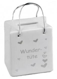 Trendige Spardose Tasche mit Spruch Wundertüte 8 x 9 cm