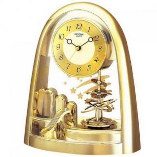 Rhythm 7607/9 Tischuhr Quarz analog mit Drehpendel golden