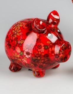 Spardose Sparschwein Flower Power in Rot aus Keramik, 11 cm