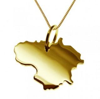 LITAUEN Kettenanhänger aus massiv 585 Gelbgold mit Halskette