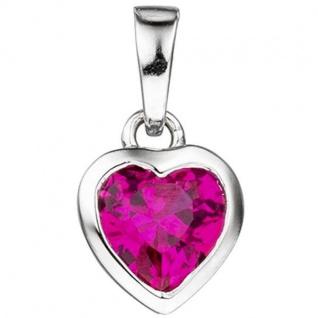 Kinder Anhänger Herz 925 Silber 1 Zirkonia pink Herzanhänger