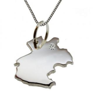GABUN Anhänger aus 925 Silber mit Brillant am Wunschort mit Halskette