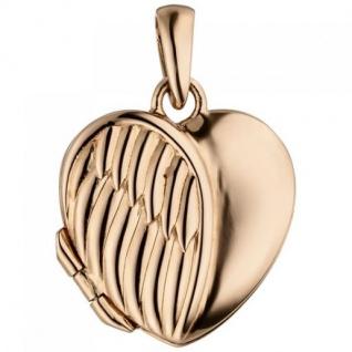 Medaillon Herz Flügel zum Öffnen für 1 Foto 925 Silber vergoldet Herzanhänger