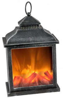 LED-Kamin 3D Laterne mit Flammen-Effekt, 20 x 30 cm antik schwarz